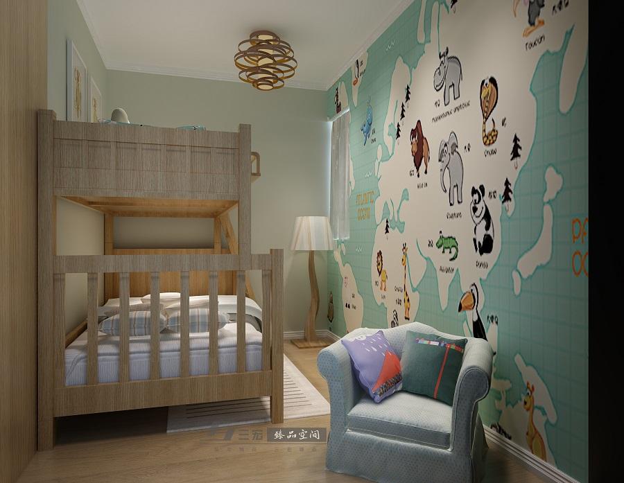 简约儿童房实木高低床