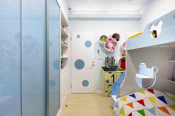 小清新儿童房实木高低床