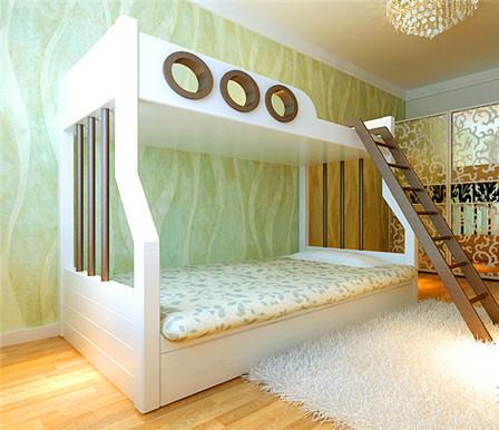 欧式儿童房白色高低床