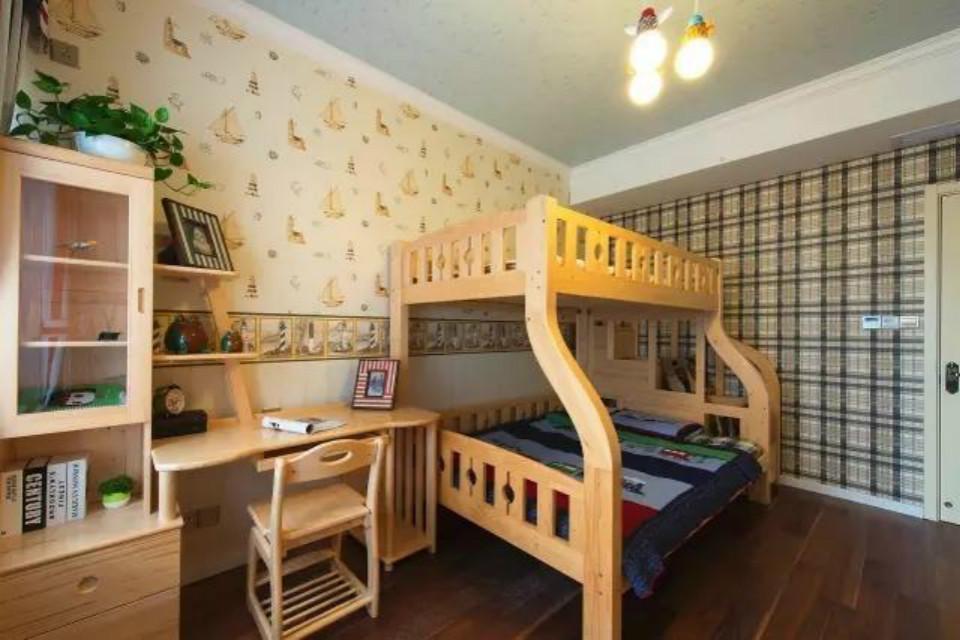 美式设计儿童房实木高低床