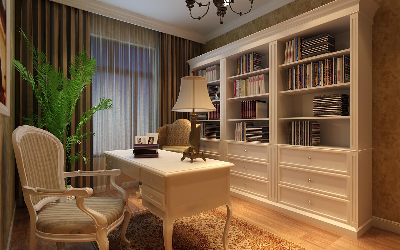 美式白色书柜效果图