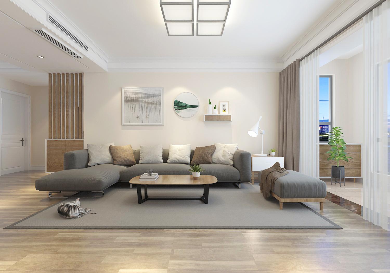 日式米色转角沙发效果图